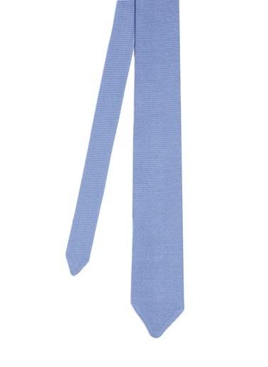 Hemington Hemington Erkek Ipek Örgü Açık Kravat Mavi